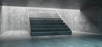 Il tunnel sotterraneo del grande calcestruzzo con le scale concrete svuota lo spazio illustrazione vettoriale