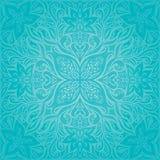 Il turchese fiorisce, progettazione floreale della mandala di festa del fondo decorato decorativo di vettore royalty illustrazione gratis