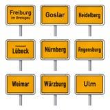 Il turismo della Germania evidenzia il vettore del segno di limiti di città illustrazione di stock