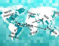 Il turismo mondiale mostra Vacationing turistico e Voyages Immagini Stock