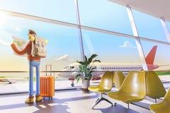 Il turista del personaggio dei cartoni animati tiene la mappa di mondo in mani in aeroporto illustrazione 3D illustrazione di stock