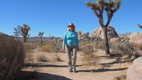 Il turista della donna cammina attraverso il deserto in mezzo del cactus, Joshua Tree And Boulders stock footage