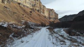 Il turista della ragazza in un piumino ed in un cappuccio cammina lungo il percorso nell'inverno in anticipo Prende una foto sull stock footage
