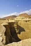 Il turista sul canyon pittoresco asciutto Fotografia Stock
