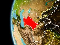 Il Turkmenistan da spazio nella sera Immagine Stock Libera da Diritti