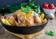 Il tutto ha arrostito il pollo con la patata su una pentola Fotografia Stock
