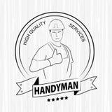 Il tuttofare professionista assiste il logo Siluetta dei vestiti da lavoro d'uso del tuttofare su fondo di legno bianco Immagini Stock