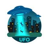 Il UFO di riserva dell'illustrazione rapisce l'uomo Fotografia Stock
