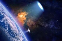 Il UFO esplora il pianeta Terra Fotografia Stock Libera da Diritti