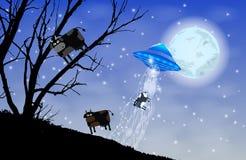 Il UFO rapisce la siluetta delle mucche Mucca sull'albero Fotografia Stock