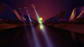 Il UFO sorvola il fiume illustrazione vettoriale