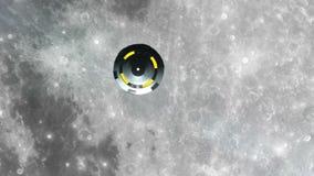Il UFO sta sorvolando la luna, rappresentazione astratta del fondo 3D illustrazione di stock