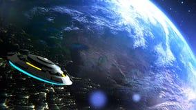 Il UFO sta sorvolando la terra, rappresentazione astratta del fondo 3D illustrazione vettoriale