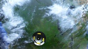 Il UFO sta sorvolando la terra, rappresentazione astratta del fondo 3D royalty illustrazione gratis