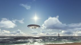 Il UFO vola dall'oceano illustrazione di stock
