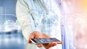 Il usng dell'uomo d'affari uno smartphone con un 3d rende la borsa valori TR Immagine Stock