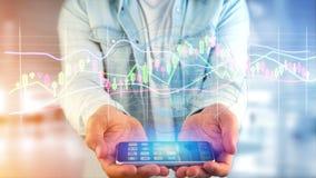 Il usng dell'uomo d'affari uno smartphone con un 3d rende la borsa valori TR Immagini Stock