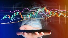 Il usng dell'uomo d'affari uno smartphone con un 3d rende la borsa valori TR Fotografia Stock