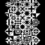 Il vario marocchino in bianco e nero piastrella il confine senza cuciture, vettore Fotografia Stock Libera da Diritti