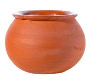 Il vaso ceramico vuoto è isolato su fondo bianco fotografia stock