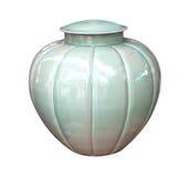 Il vaso del barattolo orna il fondo bianco decorativo Fotografia Stock Libera da Diritti