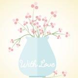 Il vaso fiorisce la carta con i biglietti di S. Valentino del giorno di madri di amore Fotografie Stock Libere da Diritti