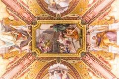 IL VATICANO - 9 GIUGNO 2014: Il soffitto in una delle stanze di Raph Fotografia Stock