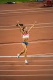Il vaulter di palo russo celebra il nuovo record del mondo Fotografia Stock