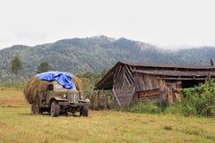 Il vecchio camion caricato da fieno Fotografia Stock Libera da Diritti