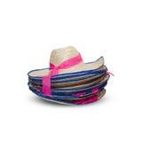 Il vecchio cappello conico di bambù asiatico ha sovrapposizione Fotografia Stock