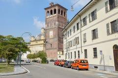 Il vecchio centro di Vercelli sull'Italia immagine stock
