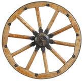Il vecchio cerchione di vagone di legno antico classico ha parlato con i sostegni ed i ribattini neri del metallo Ruota tradizion Fotografie Stock