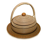 Il vecchio cestino fatto di bambù Fotografia Stock