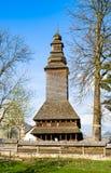 Il vecchio chiesa-museo di legno in Kolochava Transcarpathia Ukra Fotografia Stock