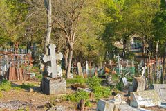 Il vecchio cimitero Parte storica di Pjatigorsk Fotografia Stock Libera da Diritti