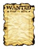 Il vecchio foglio di carta con le parole ha voluto i morti o vivo Immagine Stock Libera da Diritti