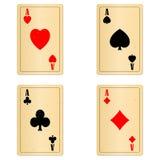 Il vecchio gioco in bianco carda quattro assi Immagine Stock Libera da Diritti