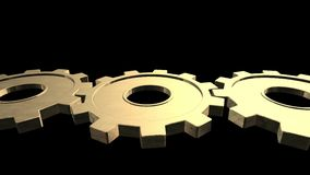 Il vecchio meccanismo dell'oro tre ingranaggi sta girando Priorità bassa nera Fine in su Alpha Channel archivi video