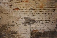 Il vecchio muro di mattoni stagionato sporco con la pittura del gesso rimane immagini stock