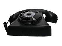 Il vecchio nero del telefono della manopola dell'annata Fotografia Stock