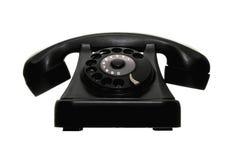 Il vecchio nero del telefono della manopola dell'annata Fotografia Stock Libera da Diritti