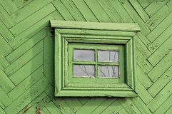 Il vecchio olio rustico ha dipinto la parete di legno delle barre con piccolo Fotografia Stock Libera da Diritti