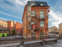 Il vecchio paesaggio industriale in Norrkoping, Svezia fotografia stock libera da diritti