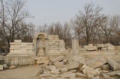 Il vecchio palazzo di estate, Yuan Ming Yuan i giardini dei giardini imperiali perfetti di Dashuifa Guanshuifa di luminosità a Pe fotografia stock libera da diritti