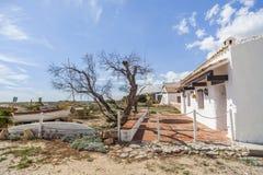 Il vecchio pesce marittimo alloggia la spiaggia di Creixell, Costa Dorada, Fotografia Stock
