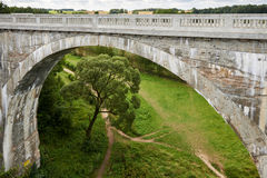 Il vecchio ponte storico Stanczyk concreto, Mazury, Polonia di railwai Fotografie Stock