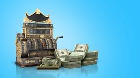Il vecchio registratore di cassa d'annata con soldi e 3d rendono su backg blu Fotografia Stock