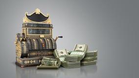 Il vecchio registratore di cassa d'annata con soldi e 3d rendono su backg grigio Fotografia Stock