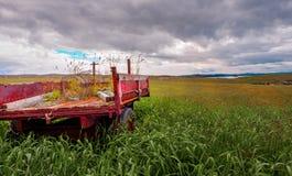 Il vecchio rimorchio abbandonato di Shetland Immagini Stock Libere da Diritti