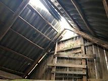 Il vecchio sottotetto abbandonato rovinato, il tetto dall'interno con l'ardesia del sole, facente il suo modo attraverso i fori fotografia stock